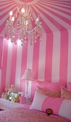 Pink Striped Wall Bedroom with Pink Bed ohhh myyy pink stripes