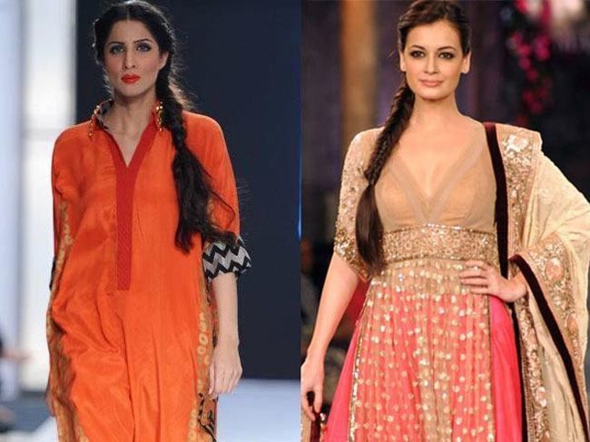 Trendy #Hairstyles for Indian Wear – Get Inspired from #Bollywood Celebrities: Centre or side partitioned messy pigtail Hairstyle for Saree | #FashionLady