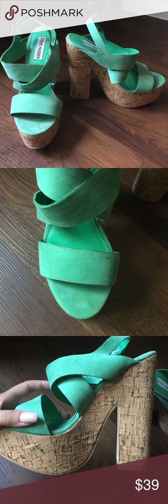 Steve Madden seafoam green wedges Shows some sign of wear. Chunky wooden heel makes for comfortable walking. Brightens up any outfit! Steve Madden Shoes Wedges