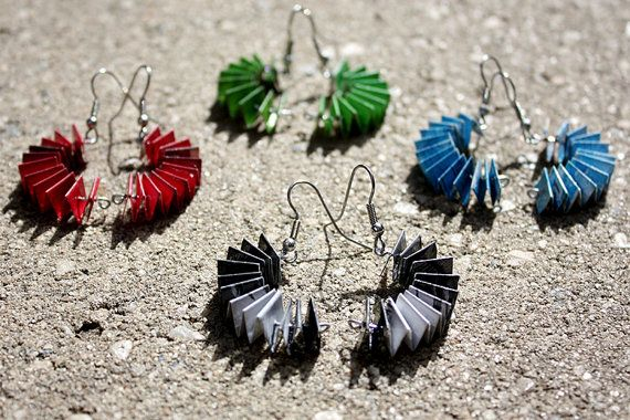 Unique Paper Earrings. Curved Concertina Design. Available in a range of colours including black & white, pink, blue and green. $20.00 each. Made by ThePaperer.