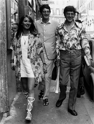 Talitha Getty wearing kimono and strappy sandals with white mini dress