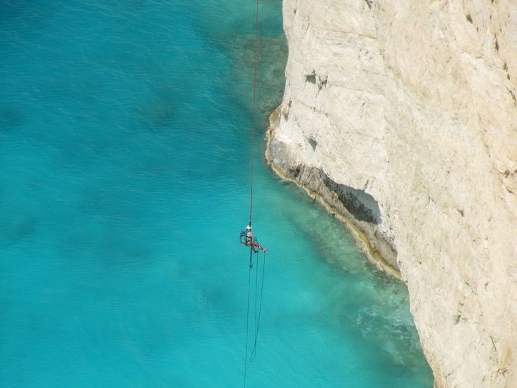 Bungee jumping, Navagio beach, Zakinthos, Greece