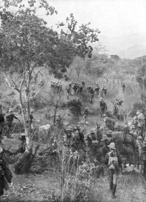 British troops in the bush on the borders of German East Africa, World War I