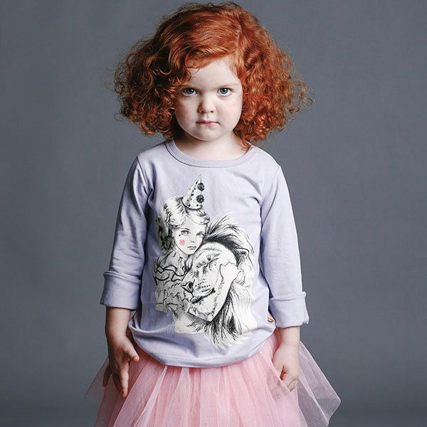 """Lion Wisperer"" long sleeved tshirt (a collaboration with artist Julie Filipenko), pink Stardust skirt (filled with sparkles that sprinkle lightly as you walk) and fierce-beautiful little redhead Evi - all part of RYB's new Winter 2015 range. Coming!"