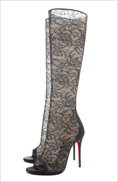 Christian Louboutin 'Alta Dentelle' peep-toe knee-high lace boots