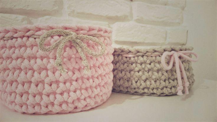 Handmade crochet basket / koszyk szydełkowy / koszyk ze sznurka bawełnianego na szydełku
