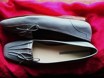 ENZO ANGIOLINI SHOES BLUE LEATHER LOAFERS W BOW!SIZE 8.5 S /39 !MADE