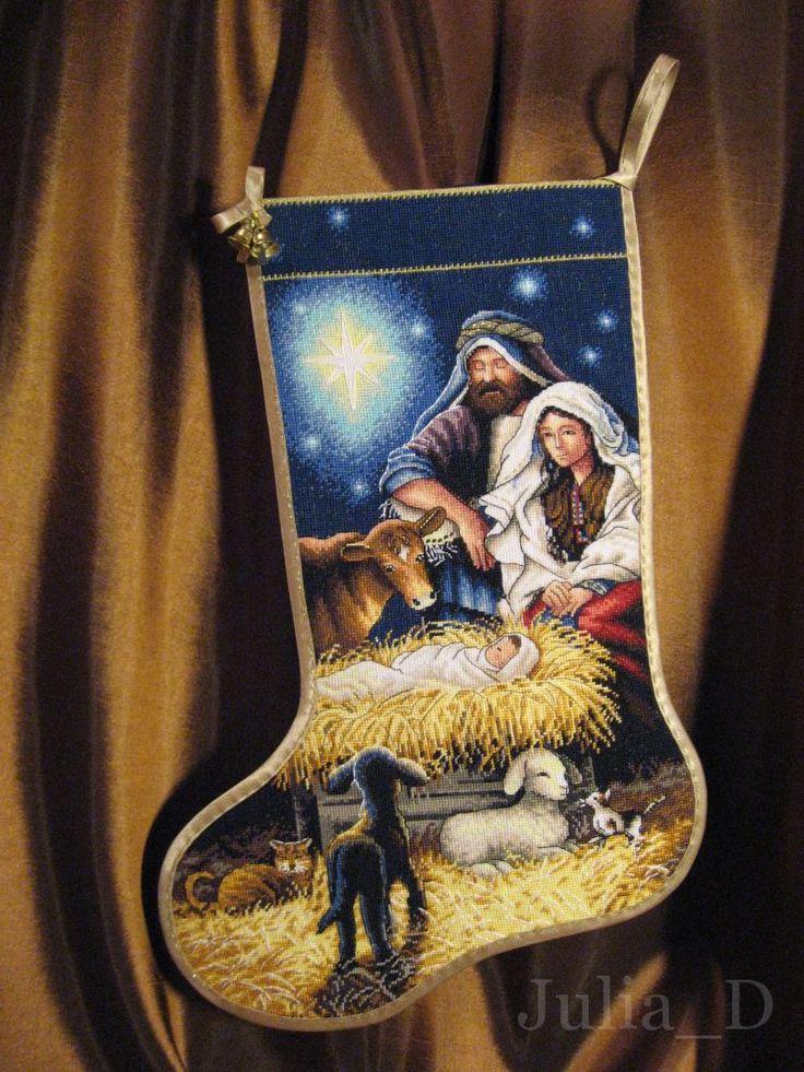 """☃ Рождественский носок своими руками - схема вышивки от Dimensions 08838 """"Holy Night Stocking""""    ✅ качаем http://stitchlike.ru/mto2"""