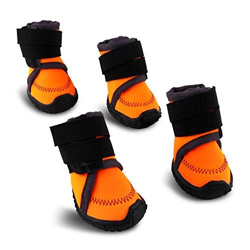 HaveGet Upgrade Waterproof Dog Shoes Anti-Slip Sole Dog Boots Velcro and Rugged Paw Protectors for All Weather Suitable for Puppy Small Medium Large Dog