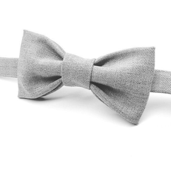 Grey Bow tie, Light Grey Bow tie by FlyTiesforFlyGuys.Etsy.com