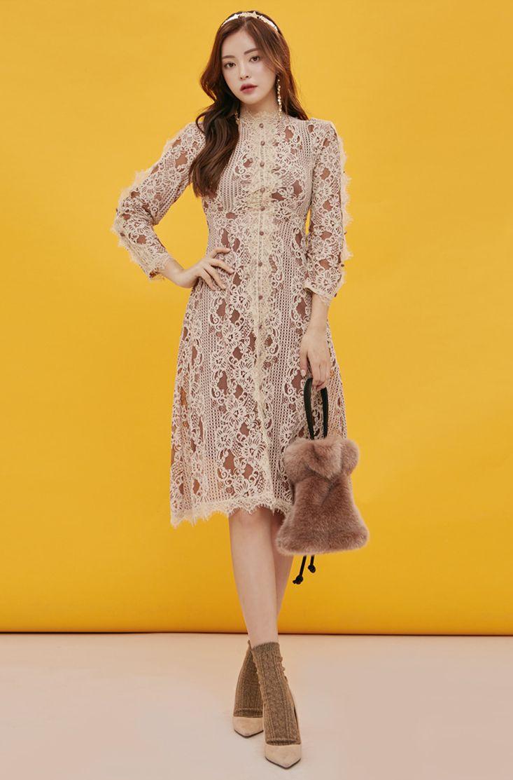 Button Detail Lace Dress CHLO.D.MANON   #lace #feminine #dress #koreanfashion #kstyle #kfashion #wintertrend #seoul