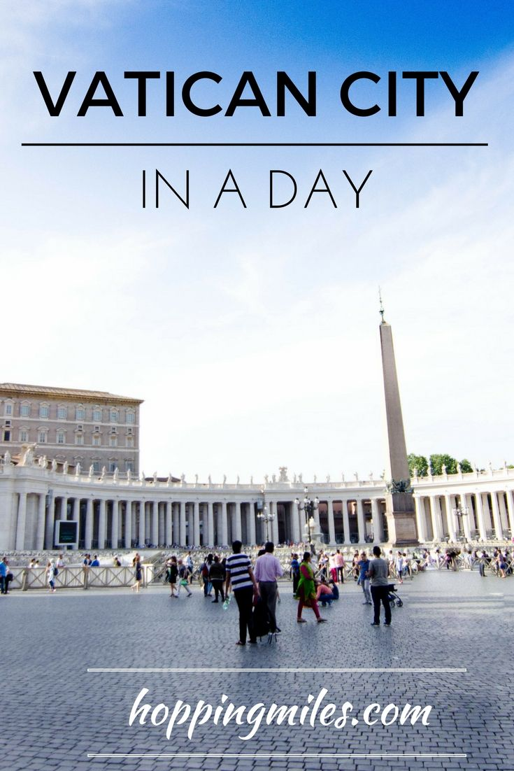 Though small in size, Vatican City deserves at least an entire day to explore its gems. The main attraction in Vatican City is the St. Peter's Basilica, St. Peter's square with obelisk and Vatican Museums with Sistine Chapel.