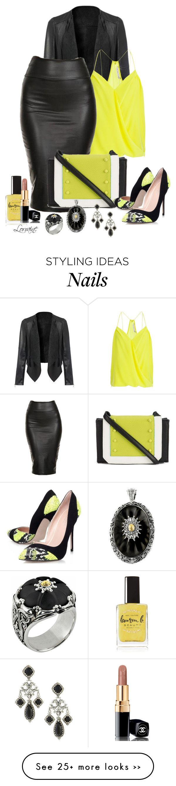 La Yellow Touch Veste et jupe crayon noire en cuir, top jaune fluo, sac et escarpins Worcking Girl Style Fashion