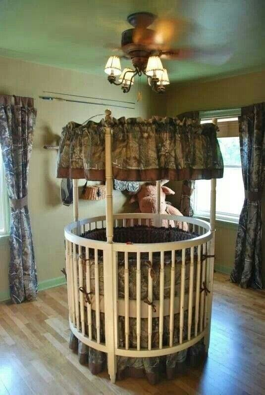 CAMO!! I love the round crib!!! Never seen anything like it.