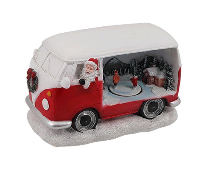 Julbuss med Belysning och rörlig Skridskobana  VINTAGE BUSS