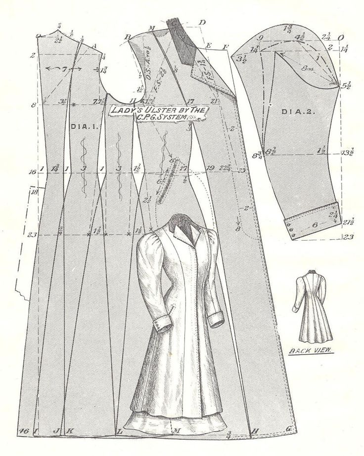 Pattern Diagram for Woman's Ulster Coat Pattern