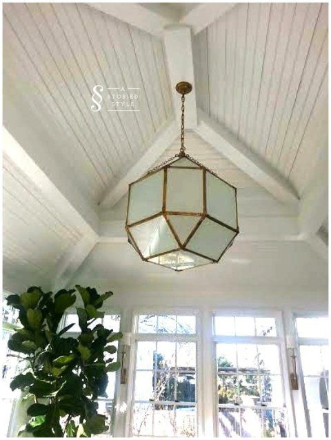 A Favorite Light Fixture Set Against Beautiful Ceiling