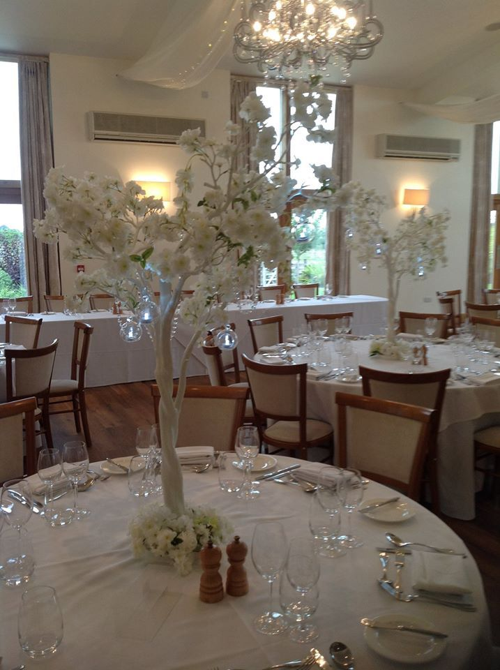 Stunning Blossom trees with glass orbs add the WOW factor to your events.  Available to hire from Make It Special Event, Atherstone