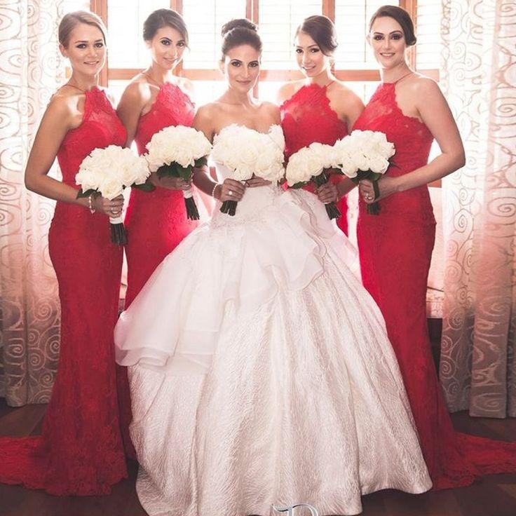 Robe de soirée rouge moulante longue pour demoiselle d'honneur avec mariée en robe de mariée princesse bustier coeur