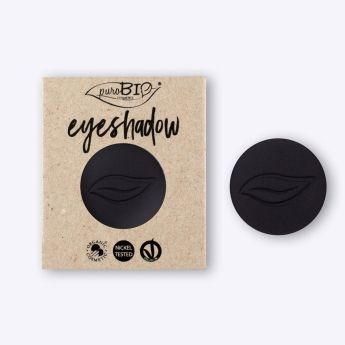 Recarga sombra de ojos Negro Mate PUROBIO. Recarga magnética para envase principal. Alta pigmentación, larga duración. Maquillaje profesional. Ingredientes ecológicos #CosmeticaNatural #Purobio #Eyeshadow #Vegano #Belleza #BellezaNatural #CosmeticaEcologica
