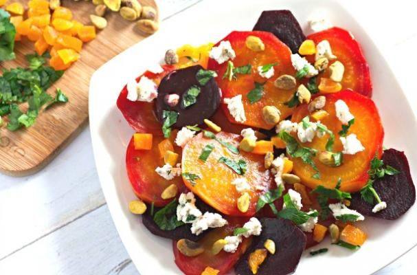 Beet Salad with Goat Cheese, Apricots, and Pistachios | Easy and healthy, this is perfect for Easter brunch or dinner and as a salad course or as a vegetarian side dish. Leftovers are wonderful for lunch too!
