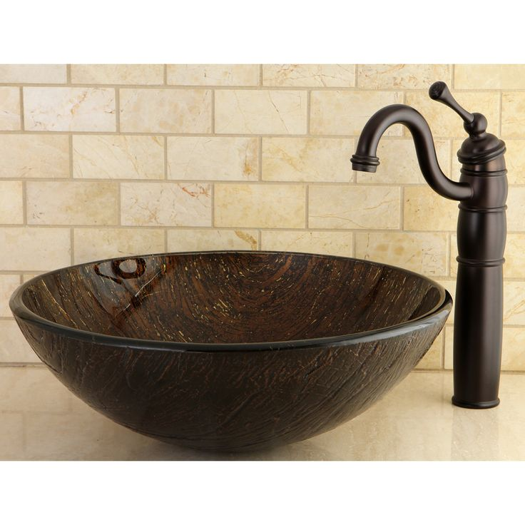 Dark bronze tempered glass vessel bathroom sink for Bath sink and toilet packages