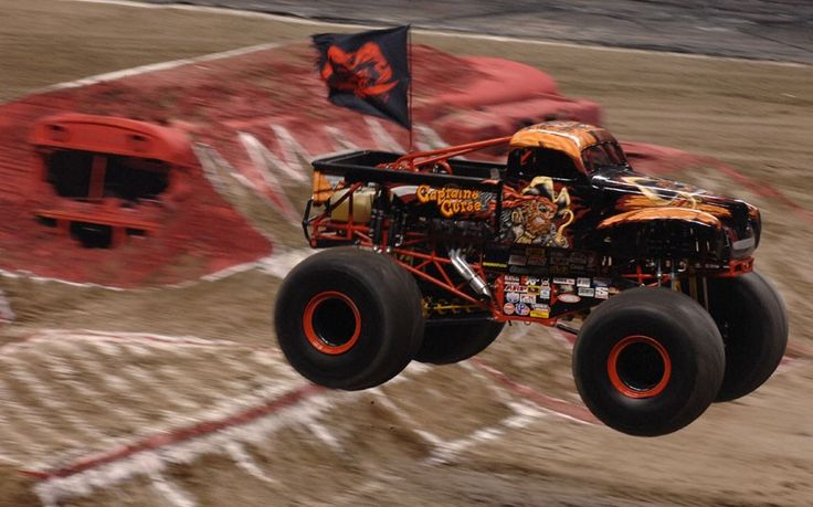 Time Captain's Curse driven by Alex Blackwell competes in the monster truck racing and freestyle competition at Monster Jam Maple Leaf in Vancouver, Canada.