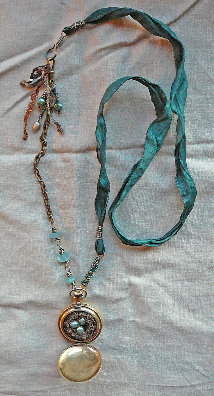 antique french silk ribbon that's hand dyed a lovely teal - nina bagley