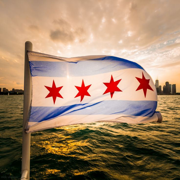 The Chicago flag in front of the Chicago skyline. (Nick Ulivieri on Instagram)