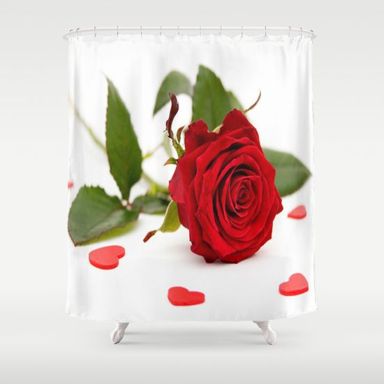 Buy Shower Curtains featuring BEAUTIFUL RED  ROSE by Acus. Made from 100% easy care polyester our designer shower curtains are printed in the USA and feature a 12 button-hole top for simple hanging.