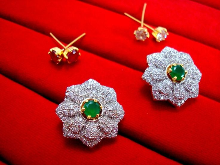 Super Saver 6in1 Changeable Zircon Earrings for Women - Green