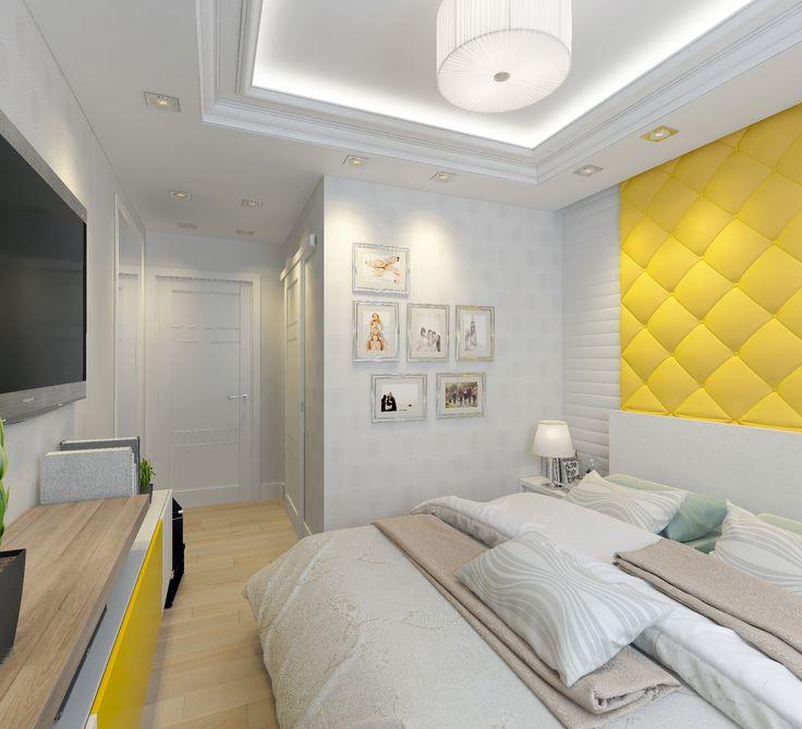 Спальня. Желтое изголовье кровати. Дизайн-проект. Бежевый пол.