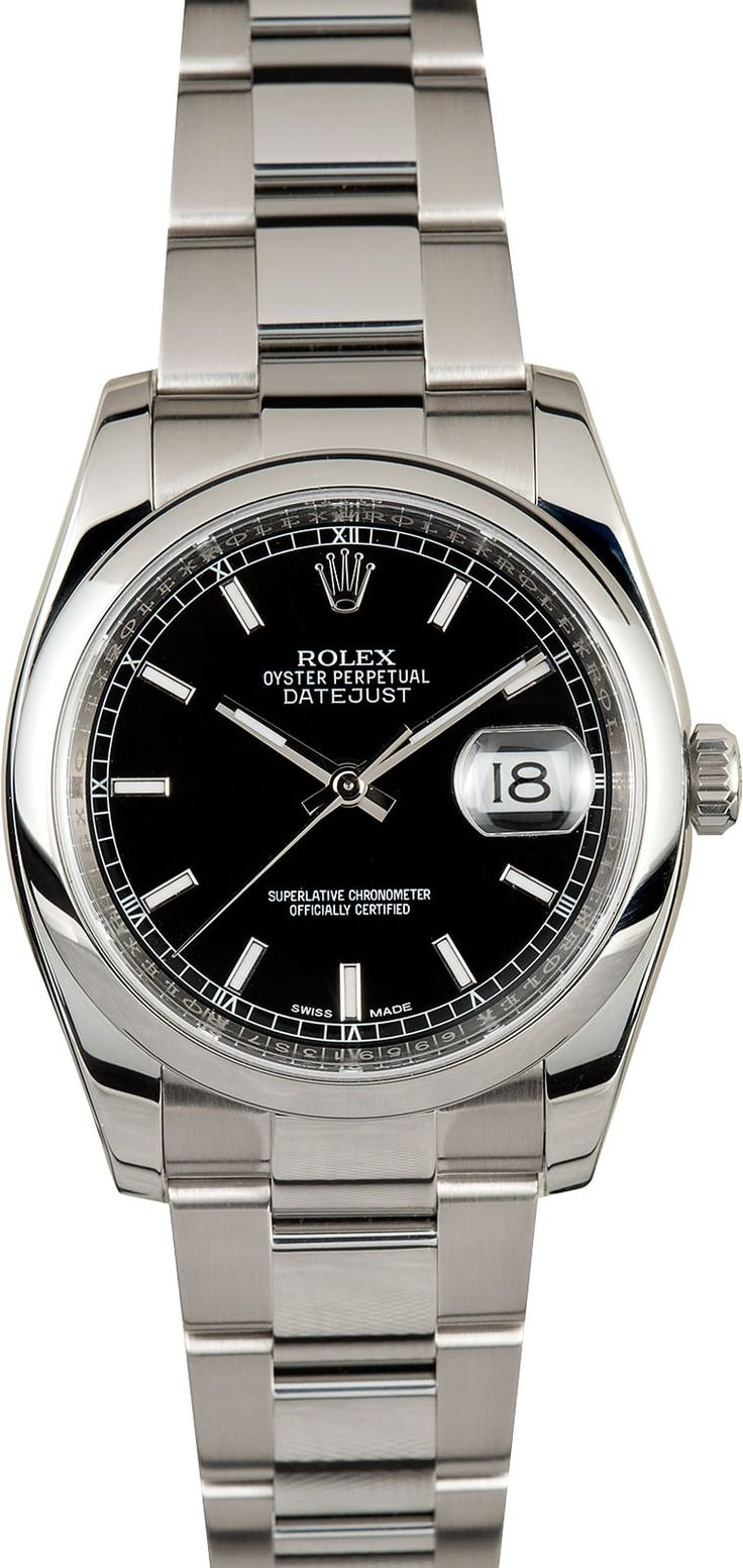 Manufacturer: Rolex   Model Name/Number: Datejust 116200   Serial/Year: Random - 2011 and newer   Grade: (What's This?) II - * see below under dial   Gender: Men's   Features: Automatic 3135 movement w/ date, Quickset, scratch-resistant sapphire crystal, waterproof screw-down crown, inner reflector ring w/ serial engraved   Case: Stainless steel w/ smooth bezel (36mm)   Dial: Blackw/ luminous hour markers and hands, Roulette (black and red) date wheel *price deduction