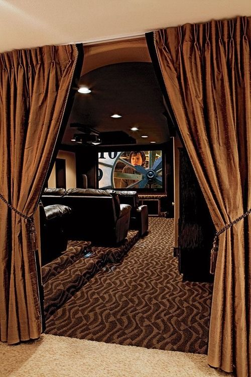 Best 25 home theatre ideas on pinterest home theater rooms movie rooms and theater rooms - Basement curtain ideas ...