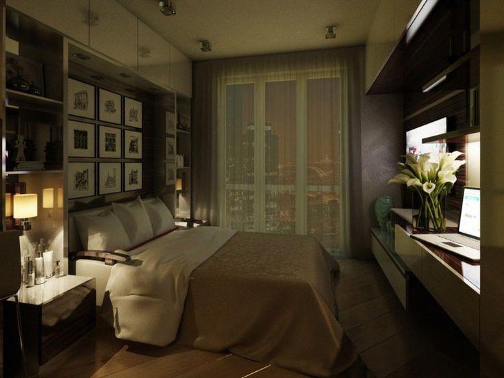 chambre adulte, lit moderne, bureau blanc laqué et cadres décoratifs