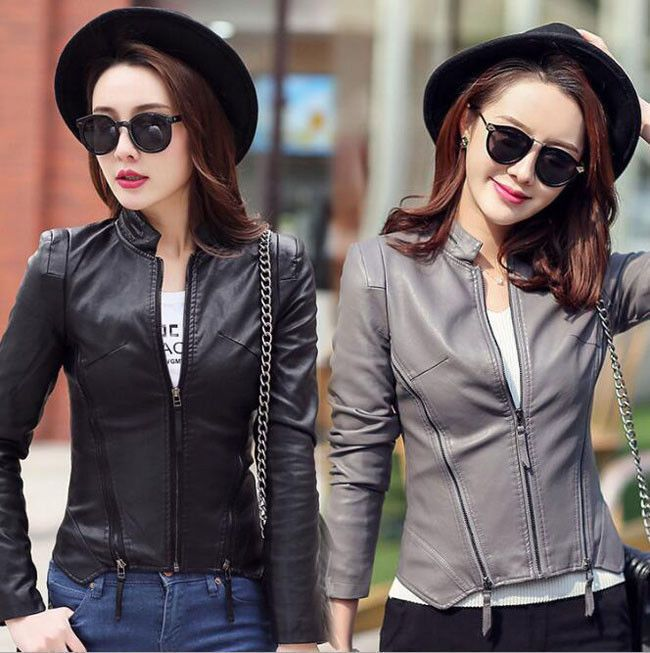 6434 100% Pu Leather Women's Motorcycle Jackets Lady Short Slim Fit Casual Coat