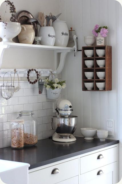 wonderful kitchen inspiration. i have a shelf thing like this that i may use in the mudroom, but i am considering it in the kitchen now.