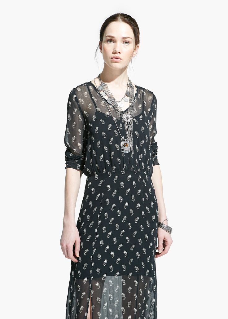 Paisley chiffon dress - Dresses for Women | MANGO