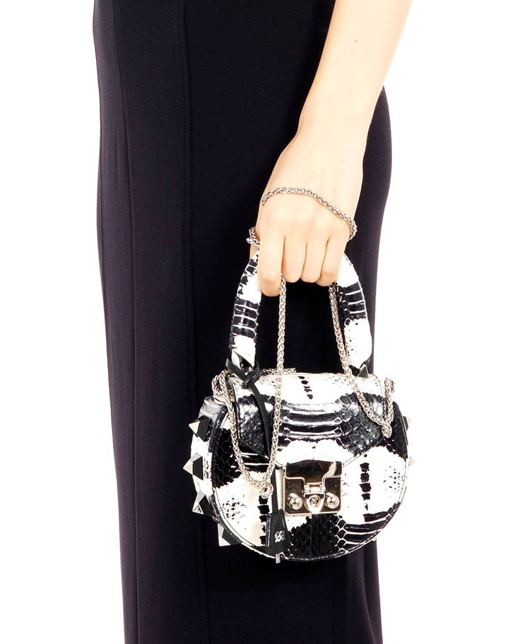 SALAR SNAKE SHOULDER BAG ''MIMI'' SS 2016 Leather snake shoulder bag  front closure with clip and padlock plastic side studs  not detachable shoulder chain  16x18x5 cm Made in Italy
