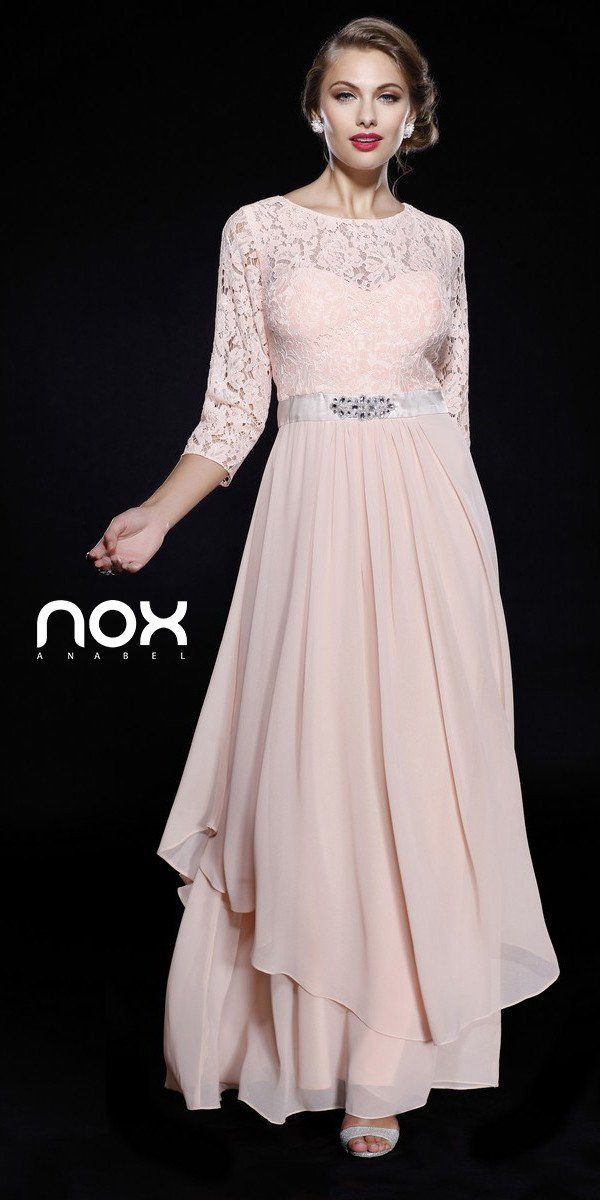 abf5ccf799918 Enjoy the night in this beautiful full length Peach evening gown. This long  dress, made in chiffon, has mid length lace sleeves, a bateau neckline and  ...