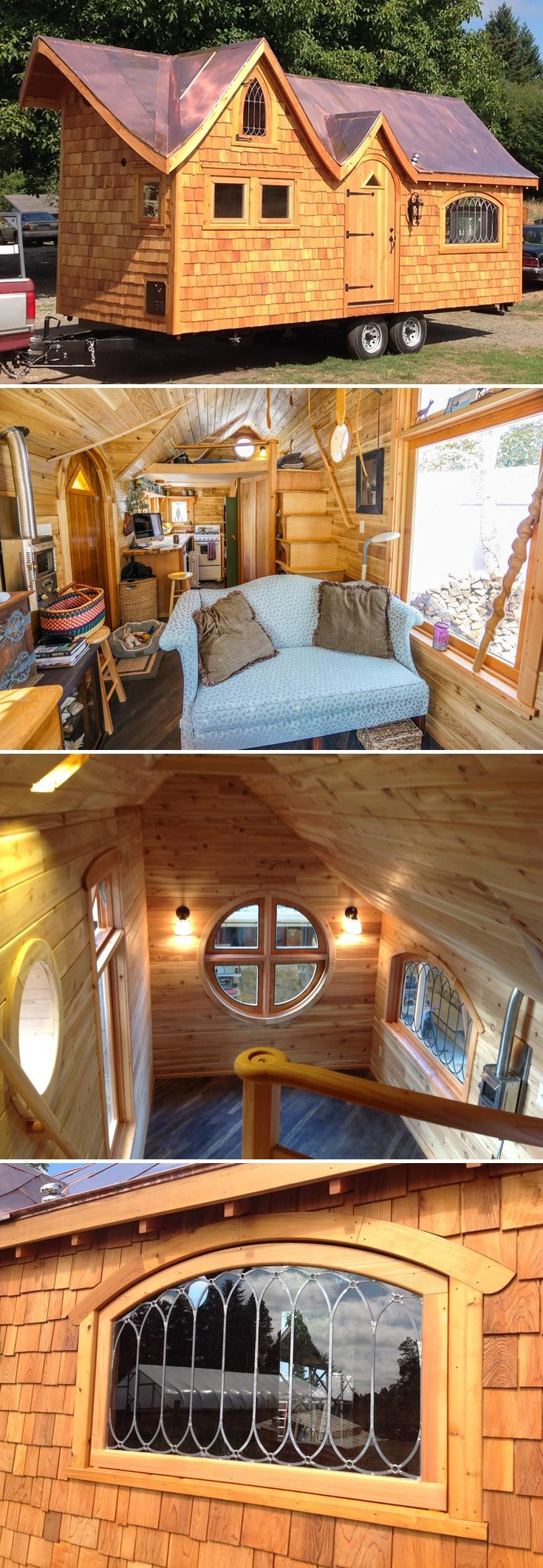 A Gothic tiny house with a dramatic double dormer roof clad in copper and a custom built mahogany barrel top door with triangle stained glass window.