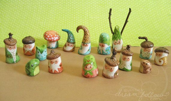 hand painted clay gnomes
