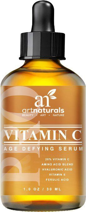 Art Naturals Vitamin C Serum 20% w/Hyaluronic Acid & Vit E - Anti Aging & Wrinkle Repairs Dark Circles, Fades Age Spots & Sun Damage - Enhanced Top Vitamin C Super Strength - Organic Ingredients, 1 Oz