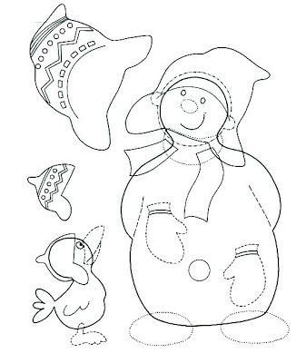 snowman with a crow - paper craft pattern 2.