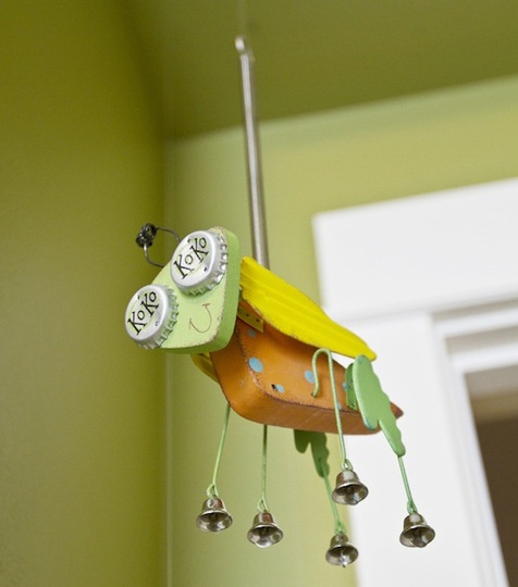 whimsical bug made out of recycled items