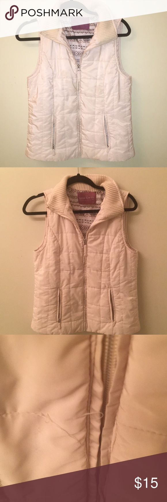 Cream Vest Cream Vest. Used and blemished pictured. No size listed but could fit a small to medium. Savile Row Co. Jackets & Coats Vests