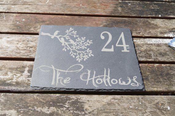 shed sign Slate house sign robin sign robin image house sign house number personalised slate sign