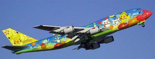 Les héros de ce dessin animé ont envahi la carlingue de ce Boeing 747 de la compagnie japonaise ANA  #avions #pokemon #pikachu