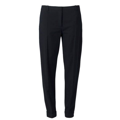 CHOOSE SLEEK DARK TROUSERS  The key to pear-perfect trousers is to keep them simple, dark and tailored. You can't go wrong with sleek black trews. Look for a pair with a sharp crease that runs down the front of the leg, which will minimise thighs and make legs look long and lean. If trousers have side pockets, sew them up to reduce extra bulk.  Closet at House of Fraser trousers, £35