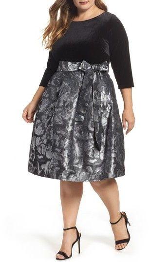 Plus Size Women's Eliza J Velvet Shimmer Fit & Flare Dress